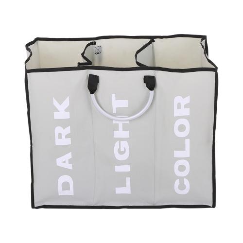 3-секционная большая складная сумка для стиральной машины в Оксфорде Сумка для хранения мешков для хранения одежды с алюминиевыми ручками