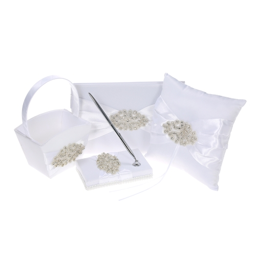 4pcs / set Wedding Supplies Cetim Flower Girl Basket + 7 * 7 polegadas Ring Bearer Pillow + Guest Book + Pen Holder com strass Decoração