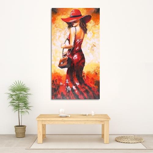 24 * 47 Zoll Unframed wasserdichte handgemalte Ölgemälde abstrakte Dame in roten Kleid Leinwand Bild Wand Kunst Dekor für Wohnzimmer Büro