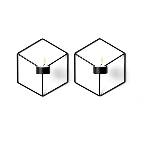 Искусство 3D Геометрический подсвечник Металл стены Подсвечник Гостиная Телевизор Ковчег Украшение