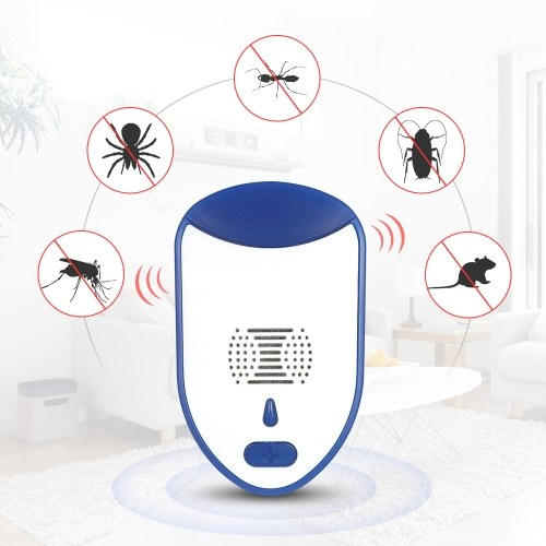 Ultrasonic Pest Repeller with Night Light Non-toxic Repellent for Mice Mosquitoes Ants Spiders Roaches Repelling AC90V-240V US Plug