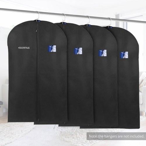 Esonmus Black 100 * 60 см Нетканые вешалки для одежды Сумки для одежды Пылезащитные влагонепроницаемые модные чехлы для костюмов с ПВХ-окнами для шкафа Путешествия - пакет из 4