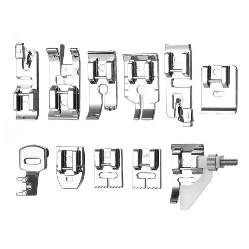 16pcs máquina de coser doméstica profesional pie prensatelas Set accesorios de repuesto del pie del dobladillo con caja de plástico para el cantante Feiyue Janome Brother