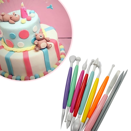 10 Pcs Muticolor DIY Cake Modeling Set Fundante e Gum Paste Decorating Tool Kit
