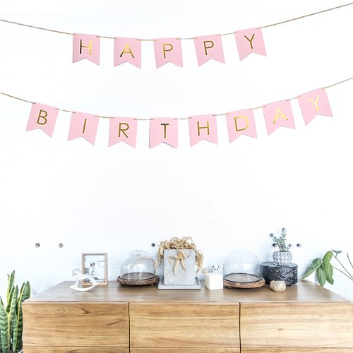 Happy Birthday Paper Flags Banner with 3.5m/11.5ft Long Cord Birthday Party Decorations Supplies