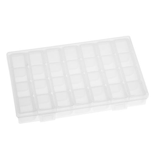 Прозрачный 28 сетки Регулируемый ящик для хранения ювелирных изделий из бриллиантов Бусины Серьги Ожерелье Контейнеры Кейс