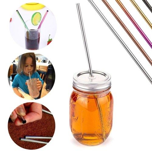 TOMTOP / 4pcs Multicolor 10.5inch Reusable Drinking Straws