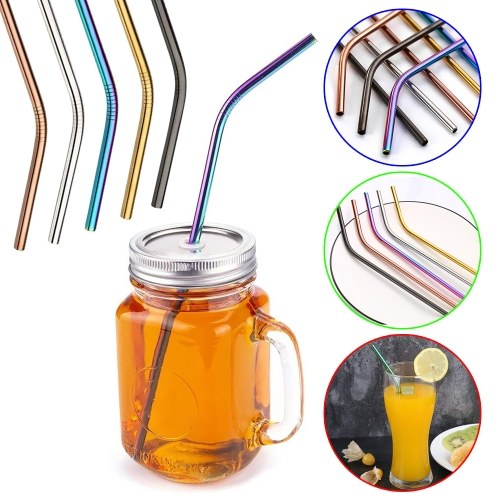TOMTOP / 4pcs Multicolor Reusable Stainless Steel Straws
