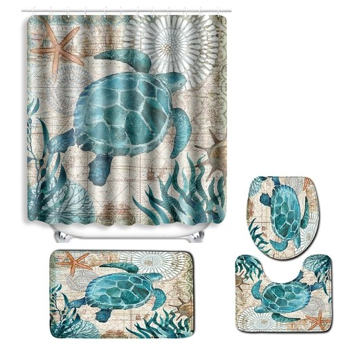 4pcs/set Turtles Printed Pattern Bathroom Decoration Water-resistant Shower Curtain Pedestal Rug Lid Toilet Cover Mat Non-slip Bath Mat Set