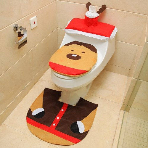Awe Inspiring Christmas Bathroom Decorations Santa Toilet Seat Cover And Rug Foot Pad Set Cafago Com Customarchery Wood Chair Design Ideas Customarcherynet