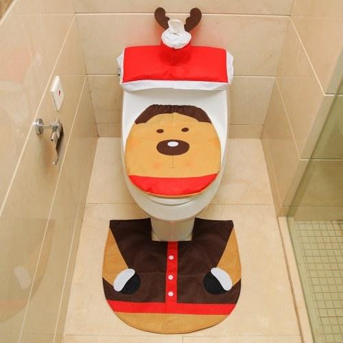 Decorações do banheiro de Natal Santa Toilet Seat Cover e Rug Foot Pad Set