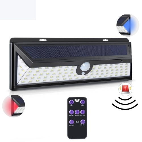 92 LEDs Solar Light Three Sided Wall Lamp Safety Garden Light with Remote Control
