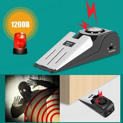Household 100dB Mini Size Lightweight Portable Alarm Door Stop with 30s Alert