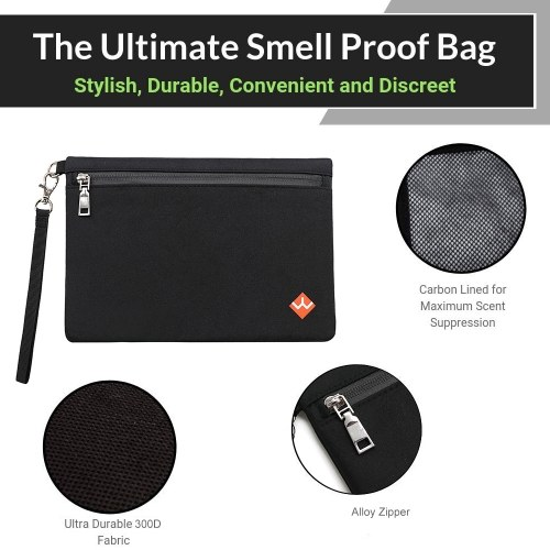 Smell Proof Bag Odor Proof Pouch Active Odor Scents Eliminator Carbon Lining Zipper Sealing 300D Waterproof Container for Herbs Pipe Perfumes Fresh Food Smoking Accssories