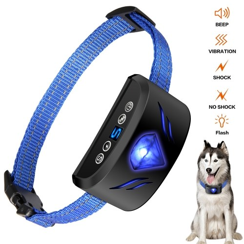 Dog Anti Bark Collar 6 in 1 Adjustable Collar Beep Vibration Shock Training Collar with Screen Display for Small Medium Large Dogs