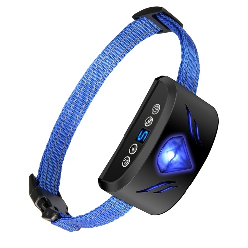 Collar de perro contra la corteza 6 en 1 Collar ajustable Beep Vibración Collar de entrenamiento de choque con pantalla para perros pequeños, medianos, grandes