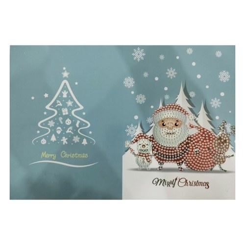 Feliz Navidad Tarjetas DIY Pintura Diamante Tarjeta Hecha A Mano Taladro Redondo Tarjetas de Felicitación Piedras Bordadas Artesanía Artesanía Regalos Suministros de Navidad