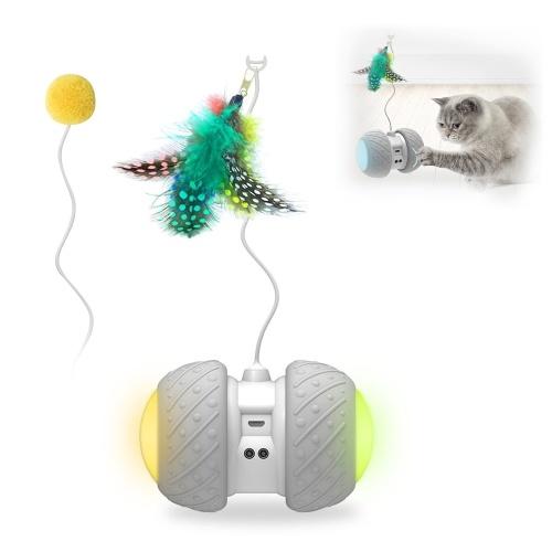 Cat Interactive Toy Automatisch rollendes Spielzeug erkennt Hindernisse automatisch mit buntem, leichtem Federball