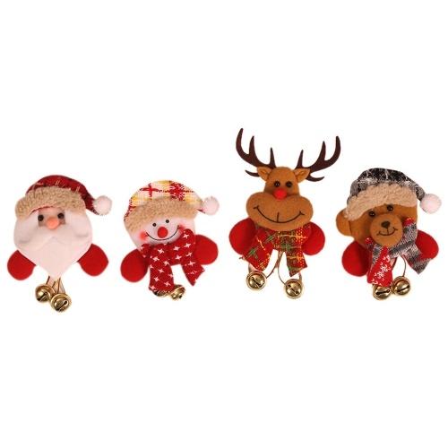 Значок брошь Светящийся колокольчик Санта, Снеговик, Лось, Кукла-медведь Кулон Рождественские украшения Рождественский подарок ребенку