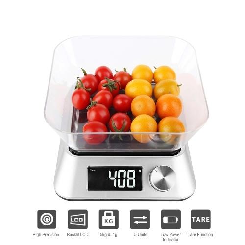Báscula de alimentos con tazón Báscula de cocina digital 11 lb / 5 kg Báscula de alta precisión Retroiluminación Pantalla LCD Peso eléctrico para cocinar hornear