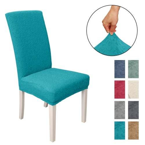 Dining Chair Slipcover, High Stretch Removable Chair Cover Washable Chair Seat Protector Cover, Jacquard Pattern, Chair Cover Slipcover for Home Party Hotel Wedding Ceremony, Peacock blue