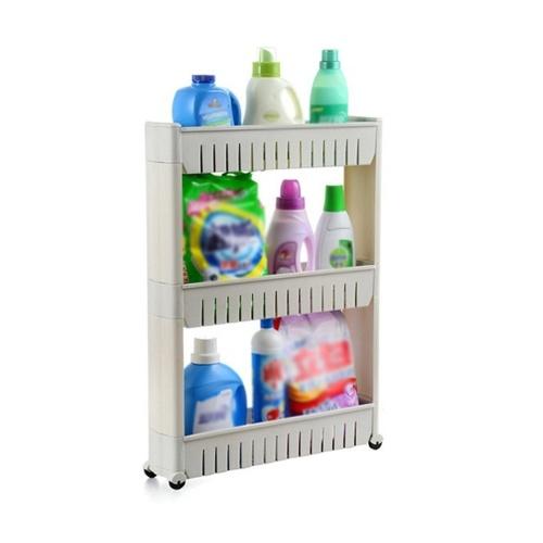 Estante de almacenamiento de 3 niveles Torre de almacenamiento Organizador delgado Estante de soporte de estante con ruedas para la cocina del hogar Lavadero Lavadero