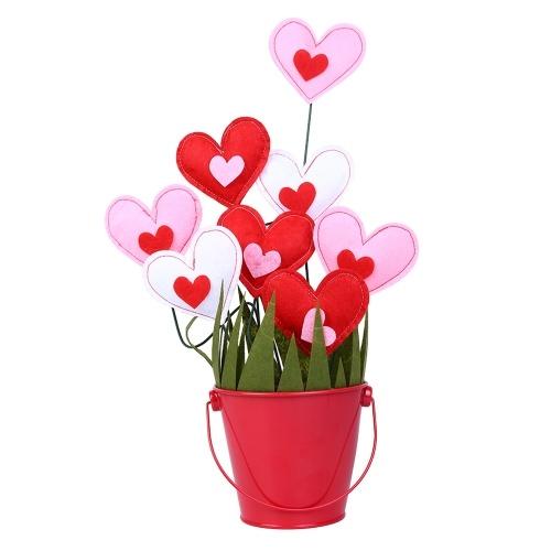 DIY Manual Cotton Stuffing Small Loving Heart Flowerpot Decoration Valentine's Day Mother's Day Gift Imitation Flower Arrangement