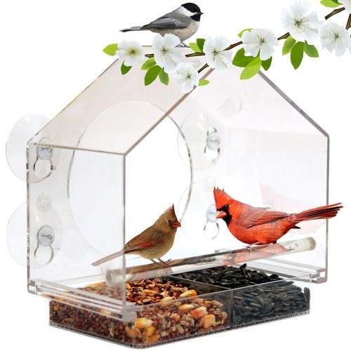 Bird Feeder House Window Bird Feed Box Parrot Food Feeder Outdoor Birdfeeders Acrylic Bird Feeding Device with 4 Suction Cups
