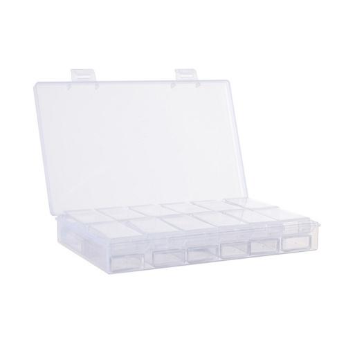 Recipientes de armazenamento de plástico para caixa de armazenamento de diamante transparente 24 grades