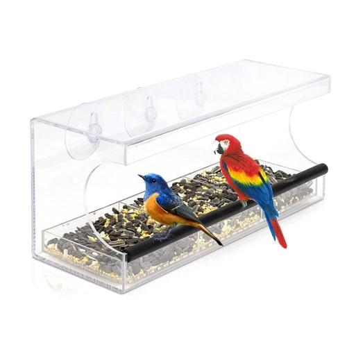 Comedero para pájaros con ventana de acrílico transparente