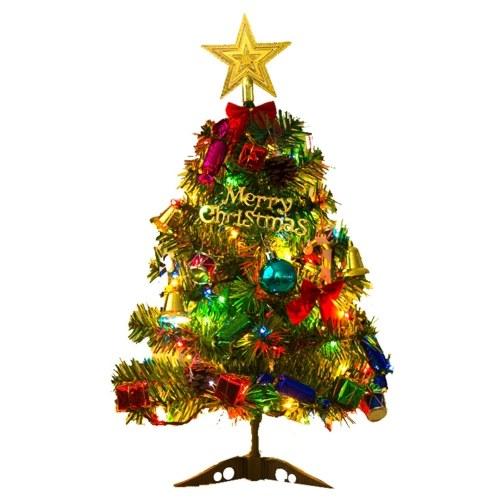 Árvore de Natal de 20 polegadas com decorações suspensas LEDs luzes de fadas