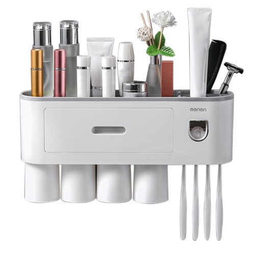 Toothbrush Rack with Toothpaste Dispenser Squeezer Magnetic Toothbrush Cup Drawer Wall Mounted