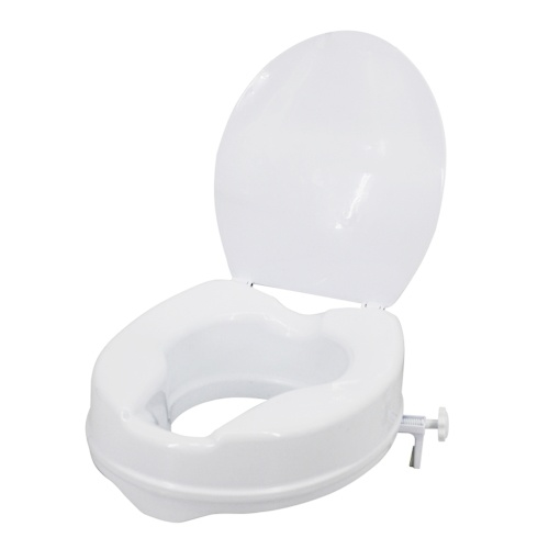 Raised Toilet Seat with Lid 300 Lbs (White, 4 Inches)