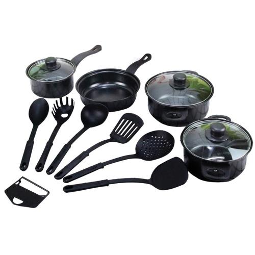 13PCS Набор посуды Сковорода, кастрюля, молочный горшок с крышкой, кухонные горшки и сковороды, набор ложек с антипригарным покрытием, сковорода для яиц для приготовления супа, лапши