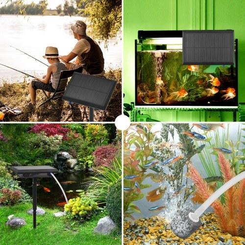 5.5V 1.5W Solar Air Pump Fish Tank Oxygenator with Aquarium Pipe & Air Bubble Stone