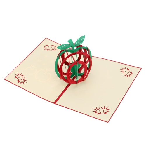 3D Handmade Folding Christmas Card Pop Up Kirigami Xmas Greeting Postcard with Envelop Christmas Apple Pattern Xmas Accessory