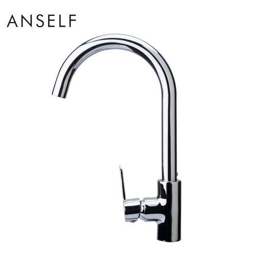 Grifo para lavabo con Anself FN105726 estilo moderno monomando cocina fregadero grifo agua excelente grifería alta calidad todo-cobre