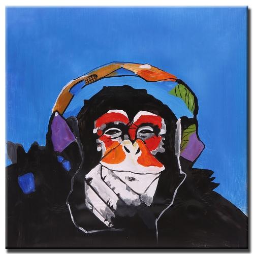 60 * 60cm Unframed Handgemaltes Modernes Abstraktes Ölgemälde Happay Musik  Gorilla Leinwand Farbe Wand Dekor