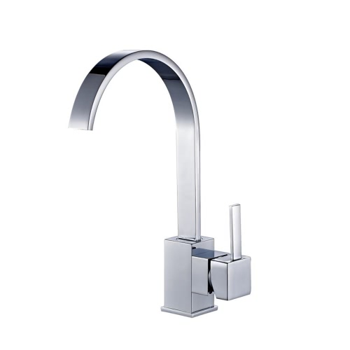 Homgeek High Quality Deck Mounted Modern Single Lever Kitchen Sink Faucet Mixer Tap Home Hotel Chrome Finish