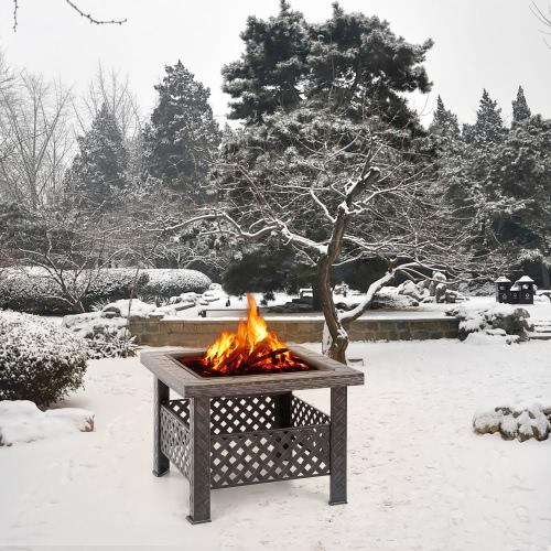iKayaa-metallo di alta qualità da giardino Backyard Fire Pit Patio Piazza Firepit Stufa Braciere Camino all'aperto W / Firepit copertura & Poker