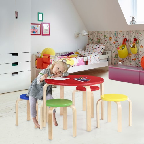 iKayaa Cute Solid Wood Round Kids Table and 4 Chairs Set