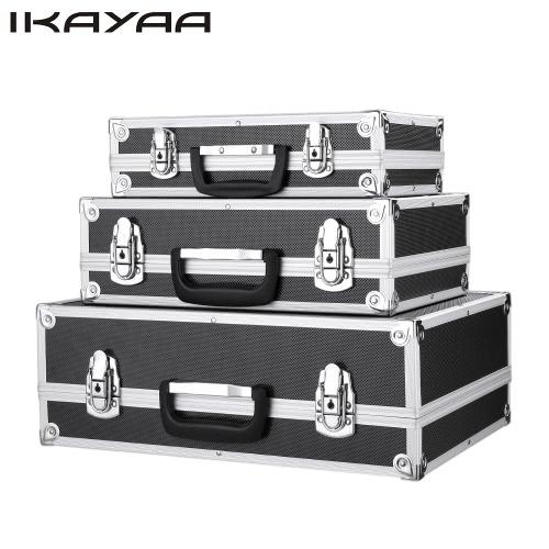 iKayaa 3шт Портативный многоцелевой инструмент Box Жесткий алюминиевая рама для переноски чехол для хранения Запирание Кейс для инструментов с ручкой Большой / Средний / Малый размер
