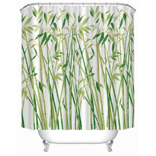 Anself 180*180cm Bamboo Pattern Shower Curtain Size 71
