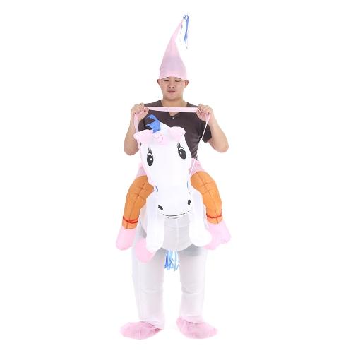 Симпатичные взрослых Надувной Единорог Костюм Костюм Blow Up Костюмированный партии Halloween Надувной Pegasus Outfit Комбинезон для мужчин женщин