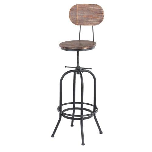 IKAYAA Chaise de bar de style industriel en bois réglable en hauteur