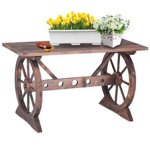 iKayaa Wagon Wheel Wood Outdoor Potting Bench