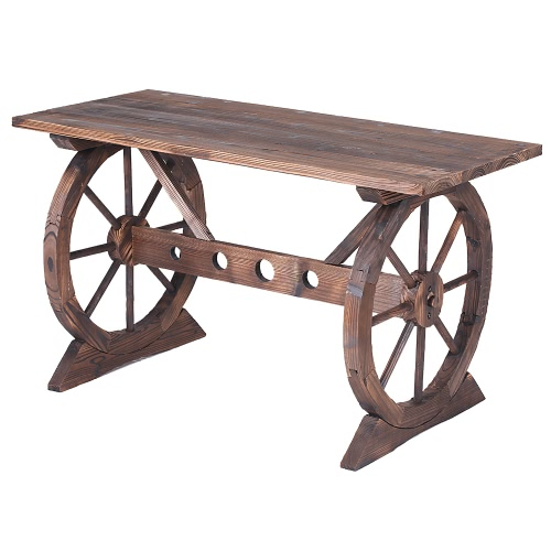 iKayaa Wagon Wheel Wood Outdoor Potting Bench Work Station Garden Plant Stand Table