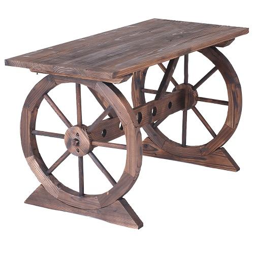 IKayaa Wagon Wheel Wood Banc de jardin en plein air Station de travail Table de jardin Plateau