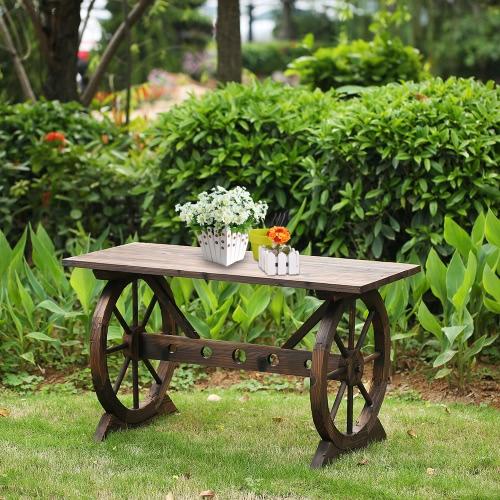 IKayaa Wagon Wheel Wood Banc de pot de plein air