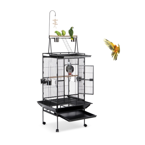 iKayaa Iron Bird Parrot Cage Large Play Top Toy Macaw Cockatoo Parakeet Conure Finch Cage + Чаша из нержавеющей стали и блокируемые колеса